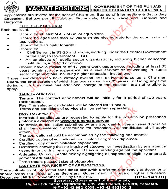 Higher Education Department HED Jobs 2017