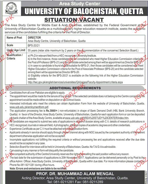 University of Balochistan Quetta Jobs