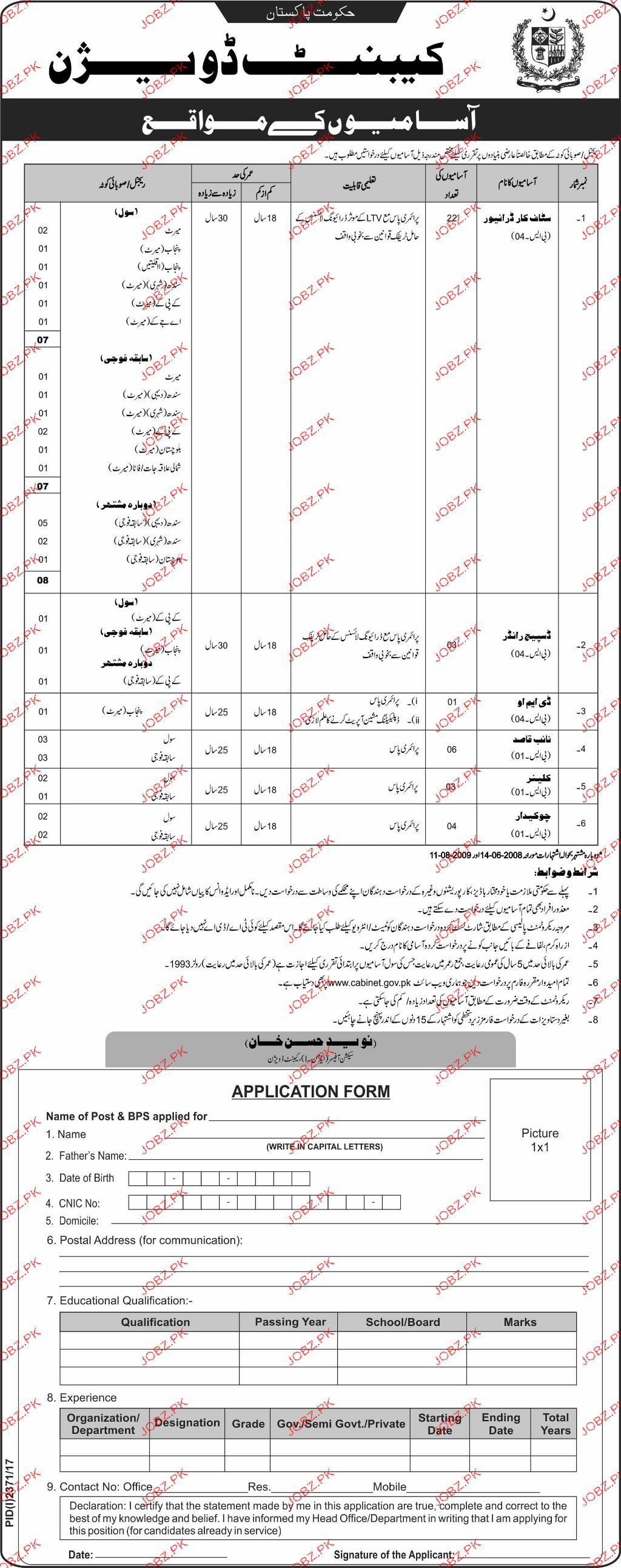 Cabinet Division Government of Pakistan Jobs