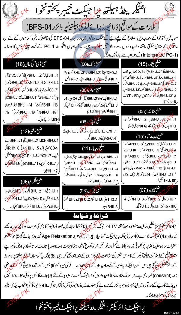 Integer  and Health Project Khyber Pakhtunkhawa Jobs
