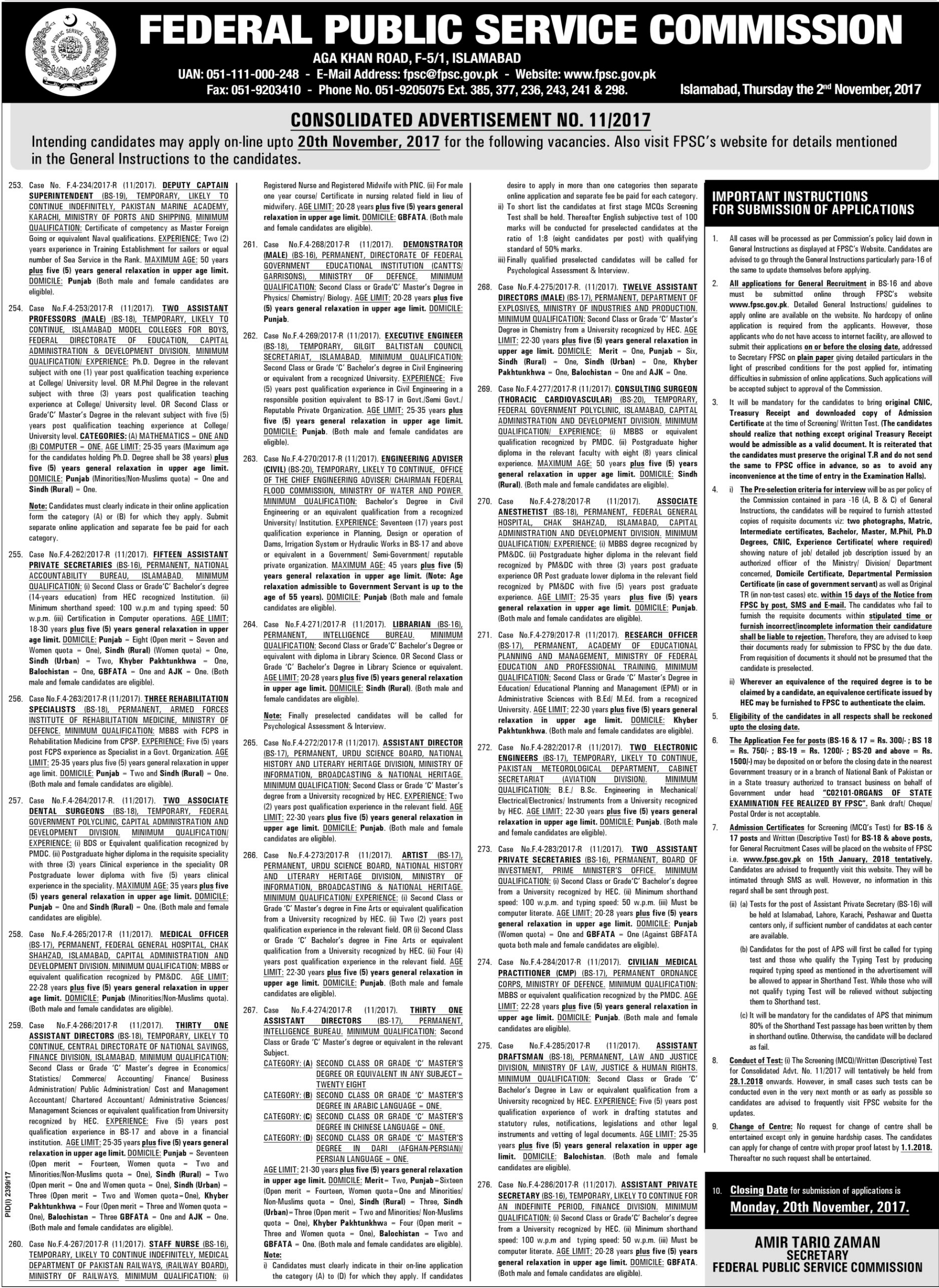 FPSC Jobs Federal Public Service Commission
