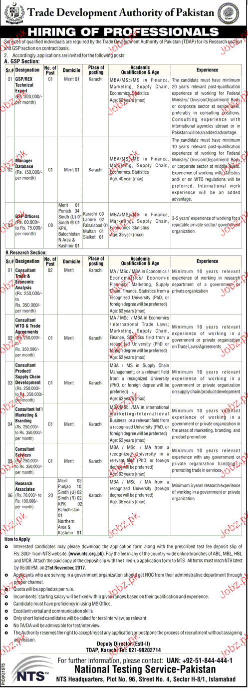 Trade Development Authority of Pakistan NTS Jobs