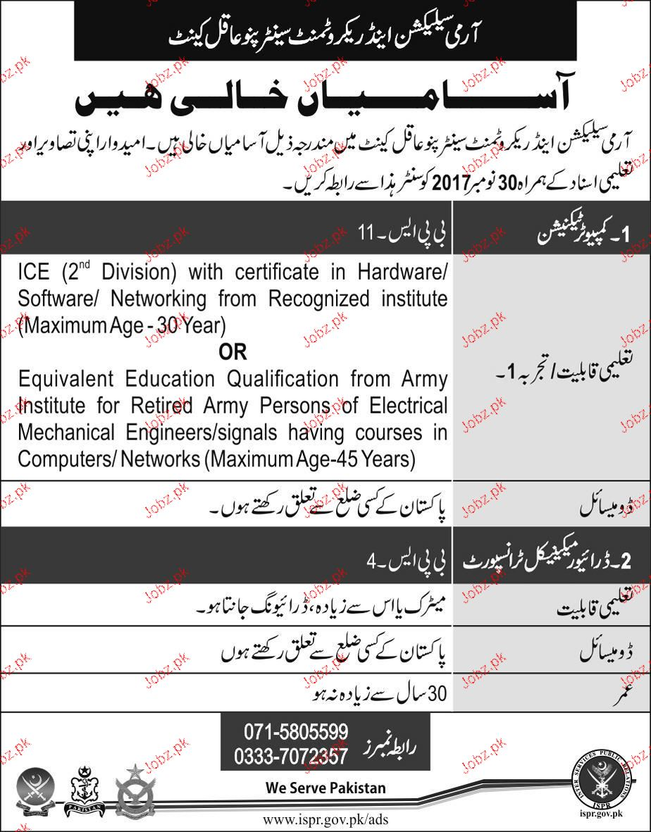 Army Selection and Recruitment Center Pano Aqil Jobs