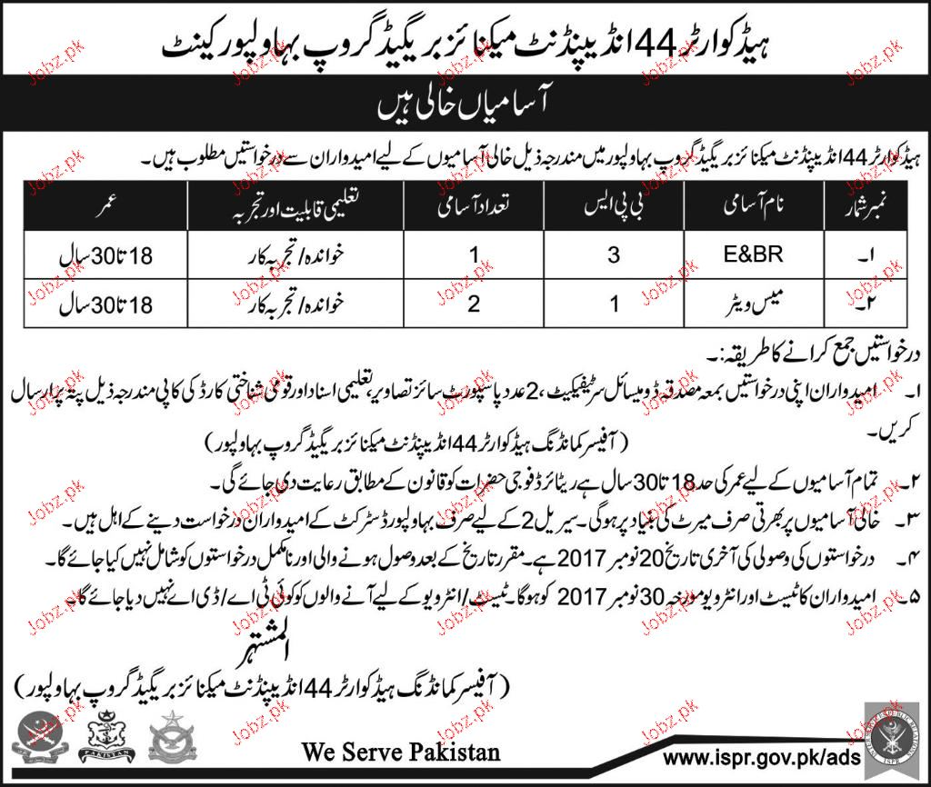 Headquarter 44 Independent Mechanize  Brigade Group  Jobs