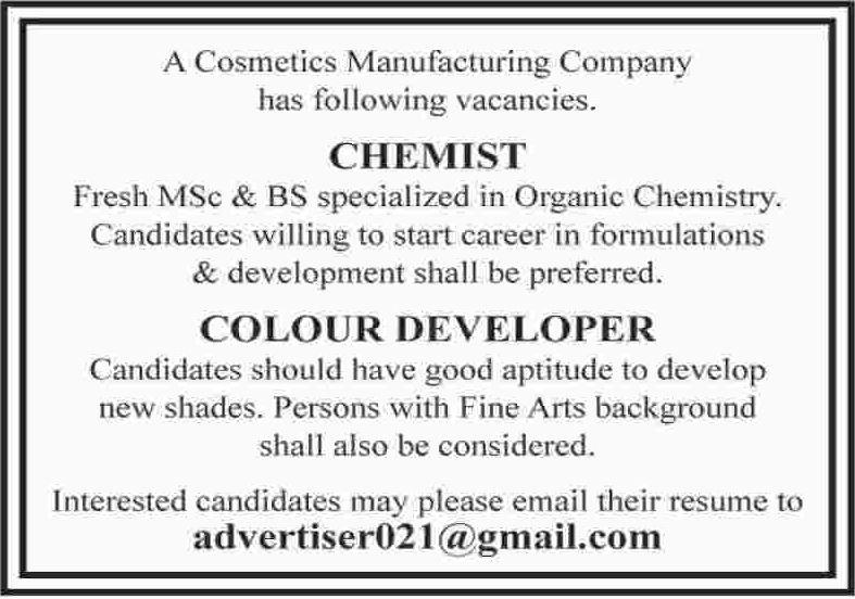 Chemist & Color Developer Jobs 2017