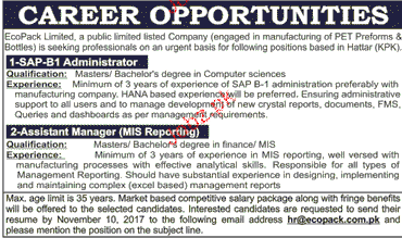 SAP-B1 Administrators and Assistant Manager MIS Wanted