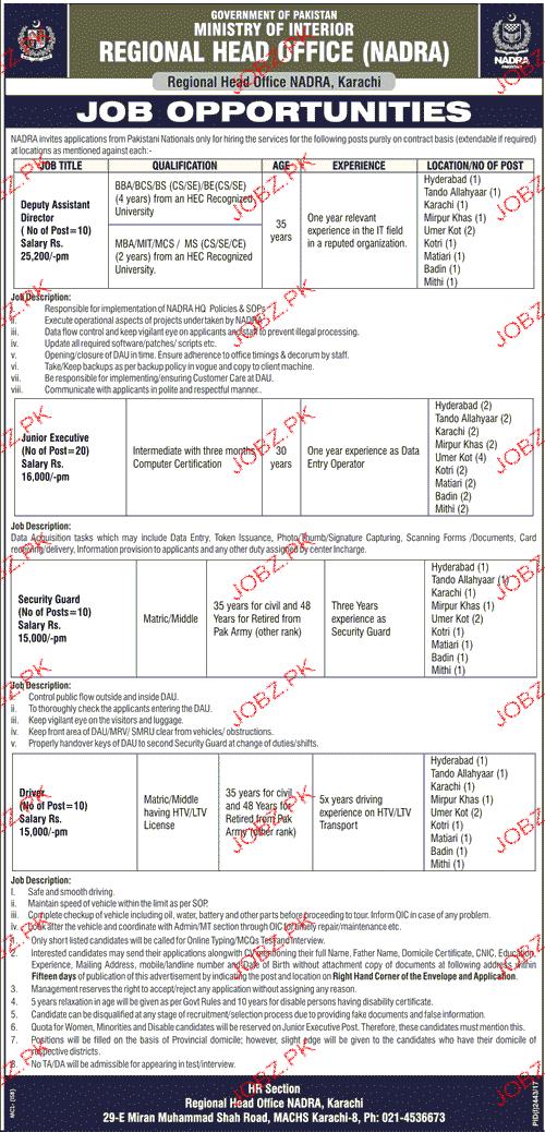 Ministry of Interior NADRA Jobs