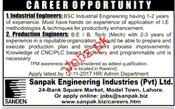 industrial engineers and production engineer job opportunity - Production Engineering Job