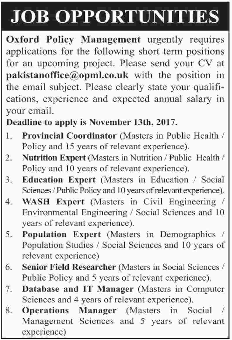 Oxford Policy Management Limited OPML Jobs 2017