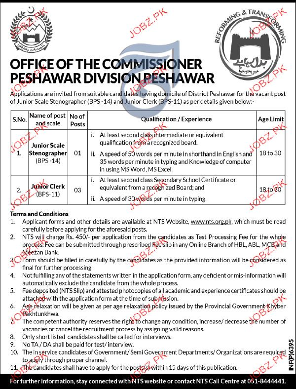 Junior Scale Stenographers and Junior Clerks NTS Jobs Open