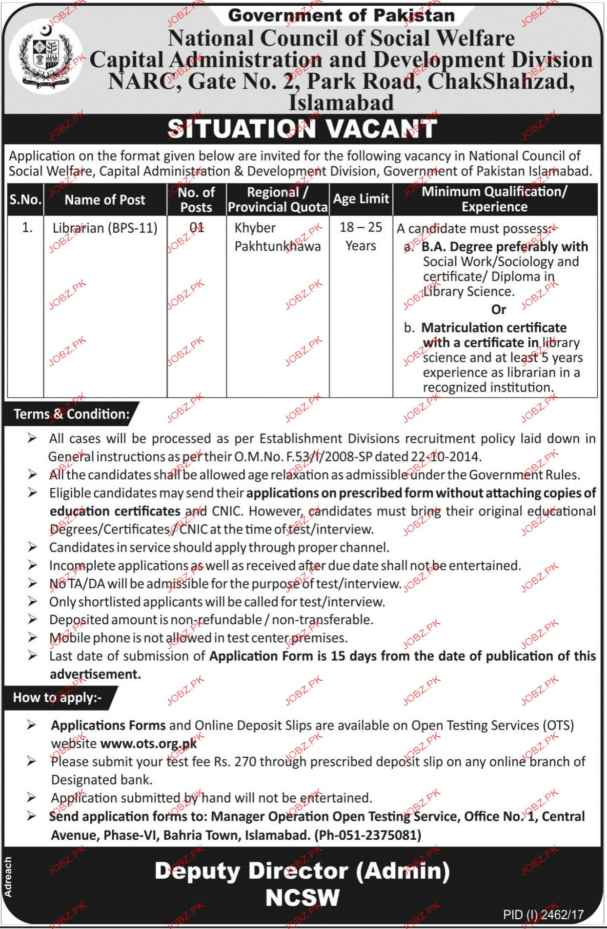 Capital Administration and Development Division CDA OTS Jobs
