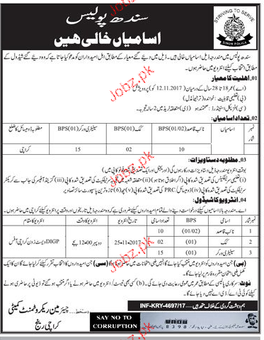 Sindh Police Recruitment