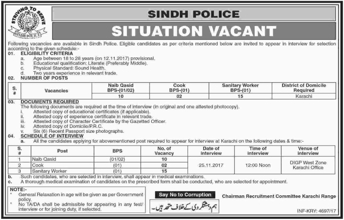 Sindh Police Job Opportunities 2017