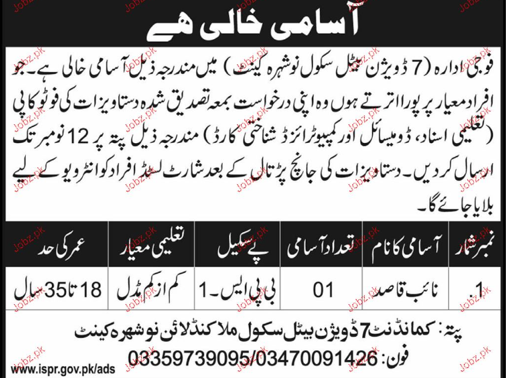7 Division Panel School Malakand Jobs