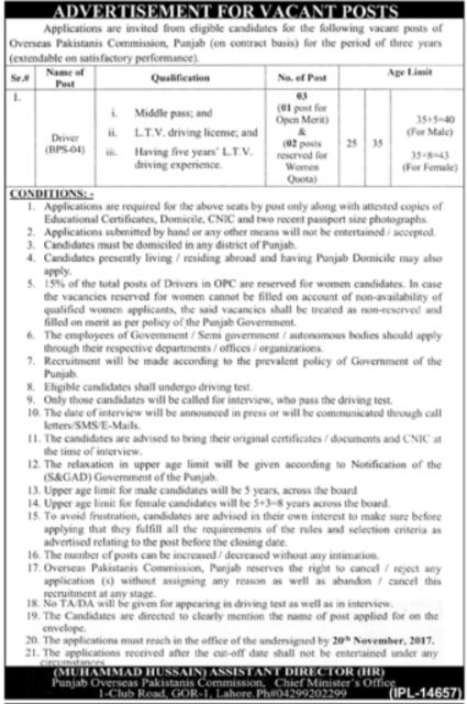Punjab Overseas Pakistanis Commission Jobs POPC