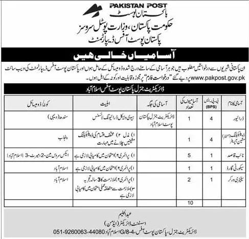 Pakistan Post Office Government of Pakistan Jobs 2017