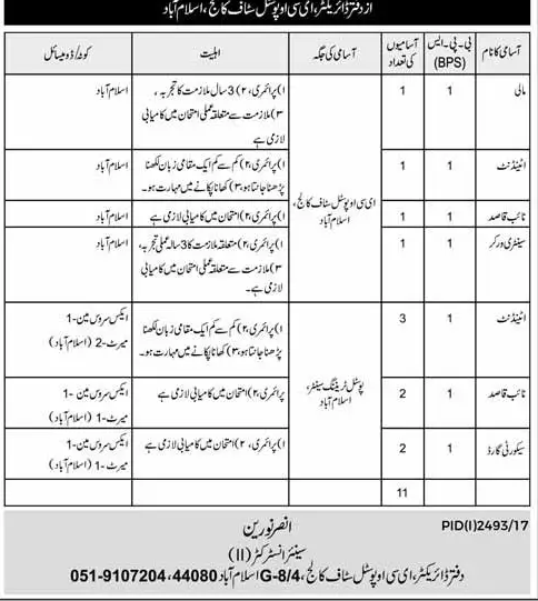 ECO Postal Staff College Islamabad Jobs