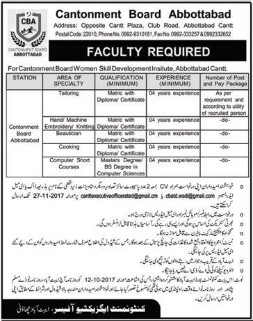Cantonment Board Jobs 2017 Abbottabad