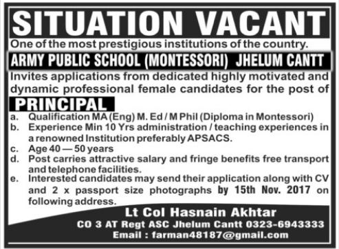 APS School Jobs at Jhelum Army Public School