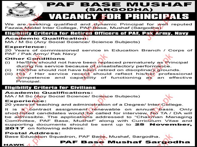 PAF Base Mushaf Sargodha Jobs Opportunity