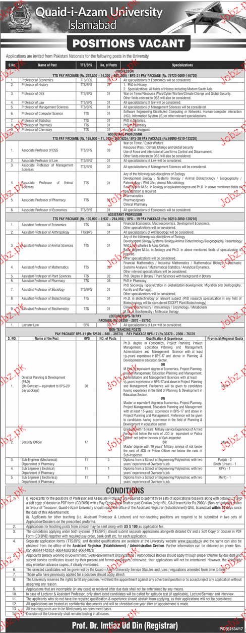 Quaid-E-Azam University Job