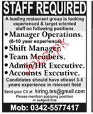 Manager Operations, Shift Manager Job Opportunity