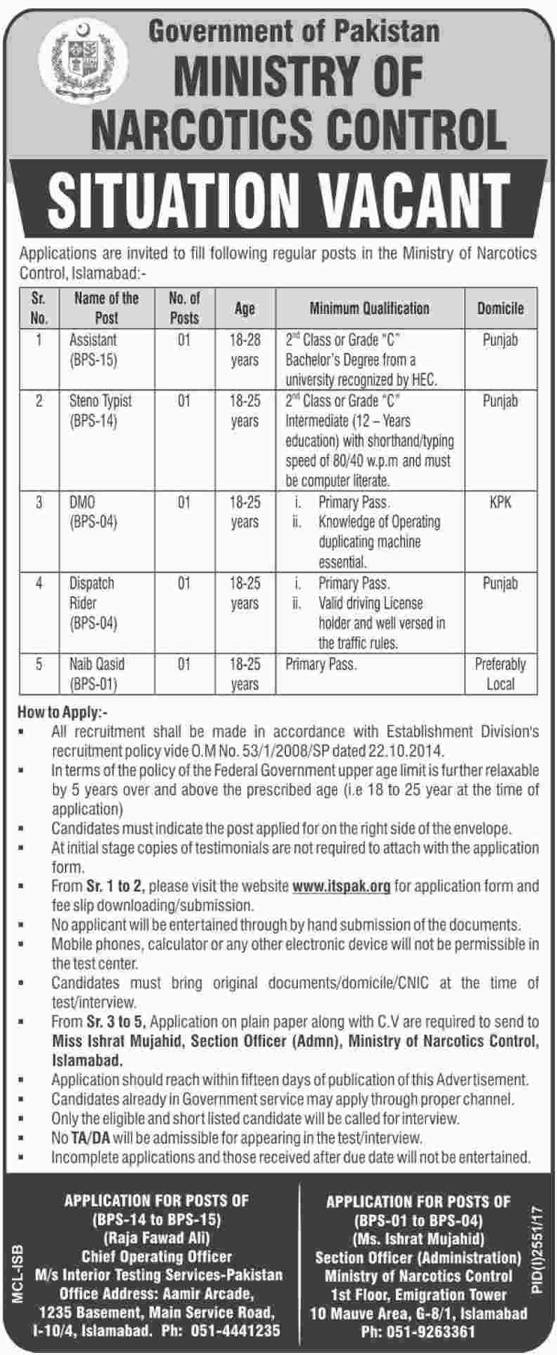 Ministry Of Narcotics Control Jobs Opportunity
