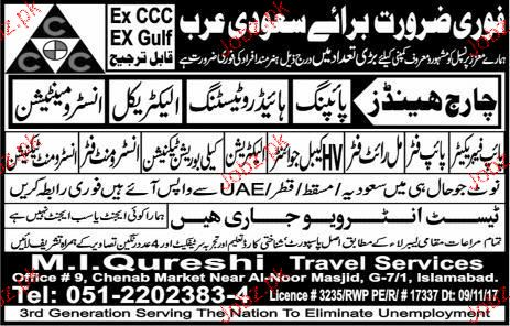 Pipe Fabricators, HV Cable Jointers Job Opportunity