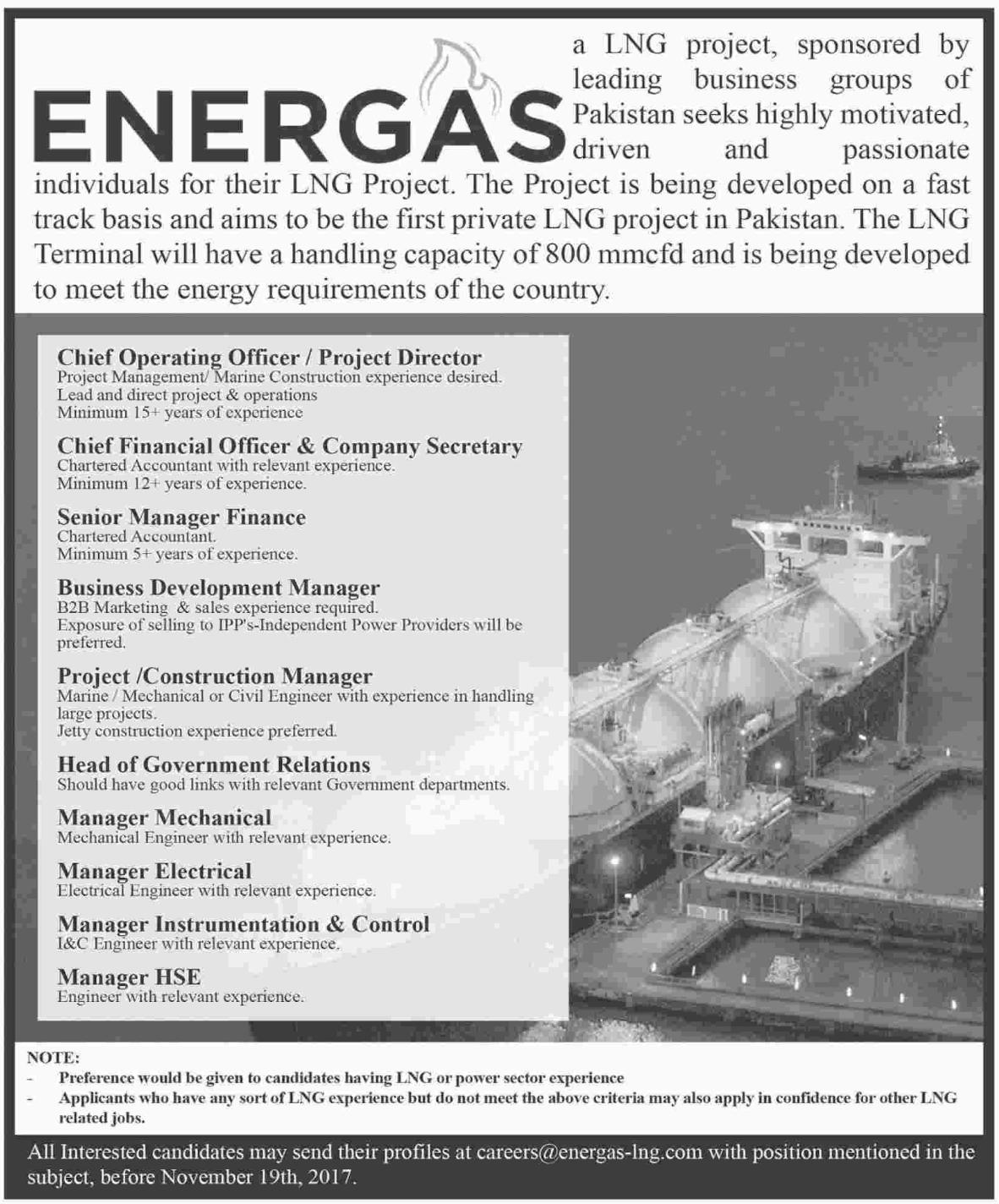 Energas LNG Company Jobs 2017