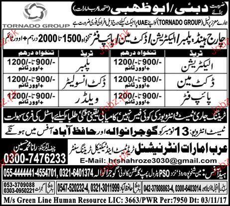 Plumbers, Electricians, Welders, Electrician Job Opportunity