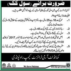 Civil Cook required in Army Transit Camp