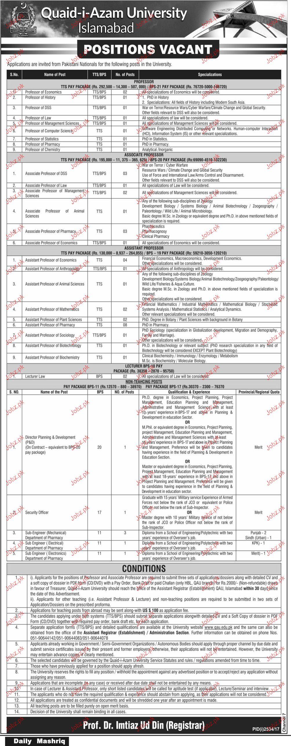 Quaid-E-Azam University Job