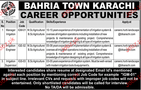 Bahria Town Karachi Management  Jobs