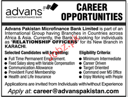 Relationship Officers Job Opportunity