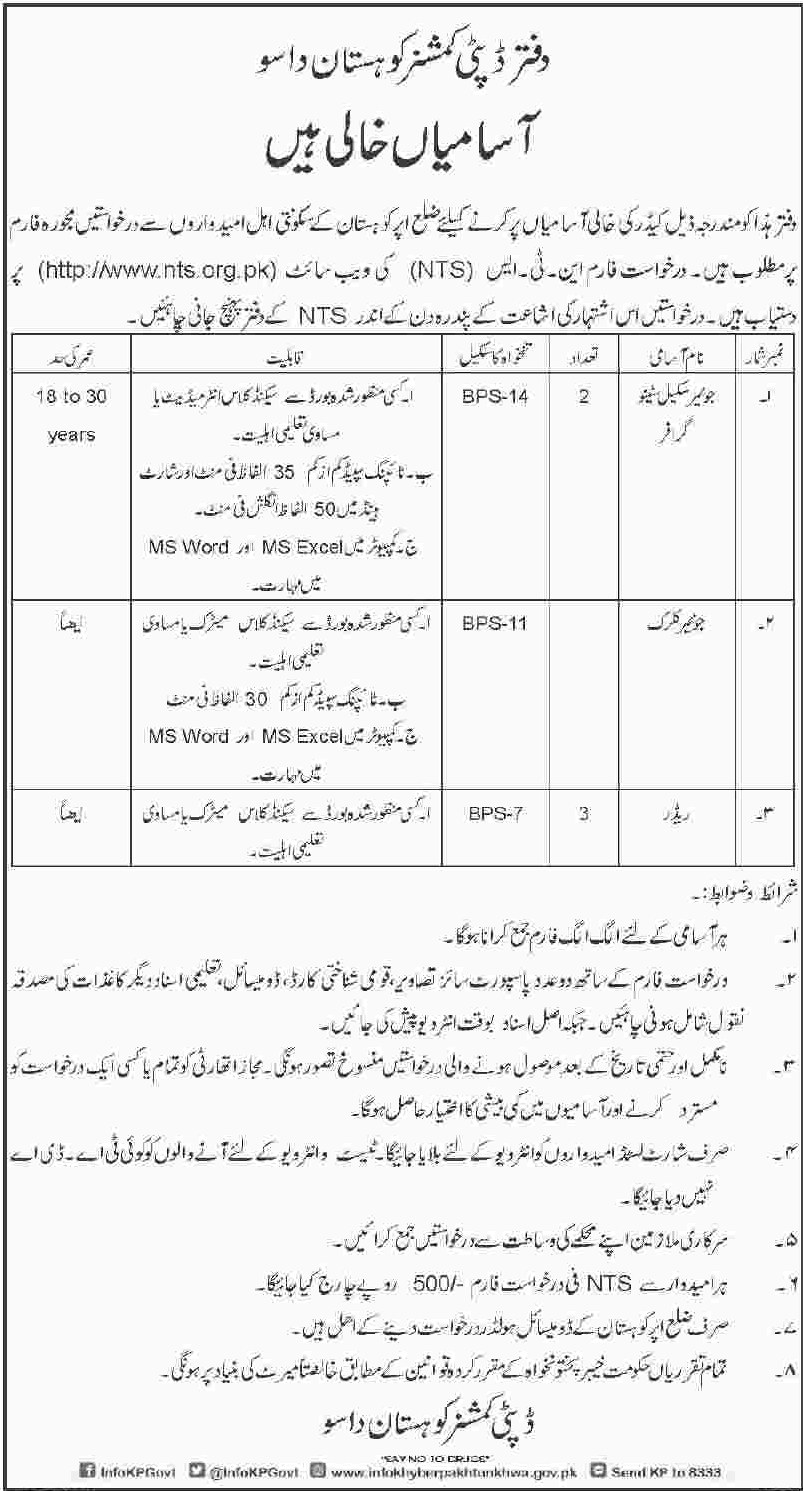Deputy Commissioner Kohistan Dassu Office Jobs NTS