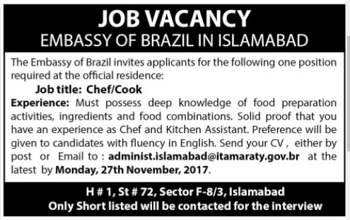 Embassy of Brazil required Staff 2017