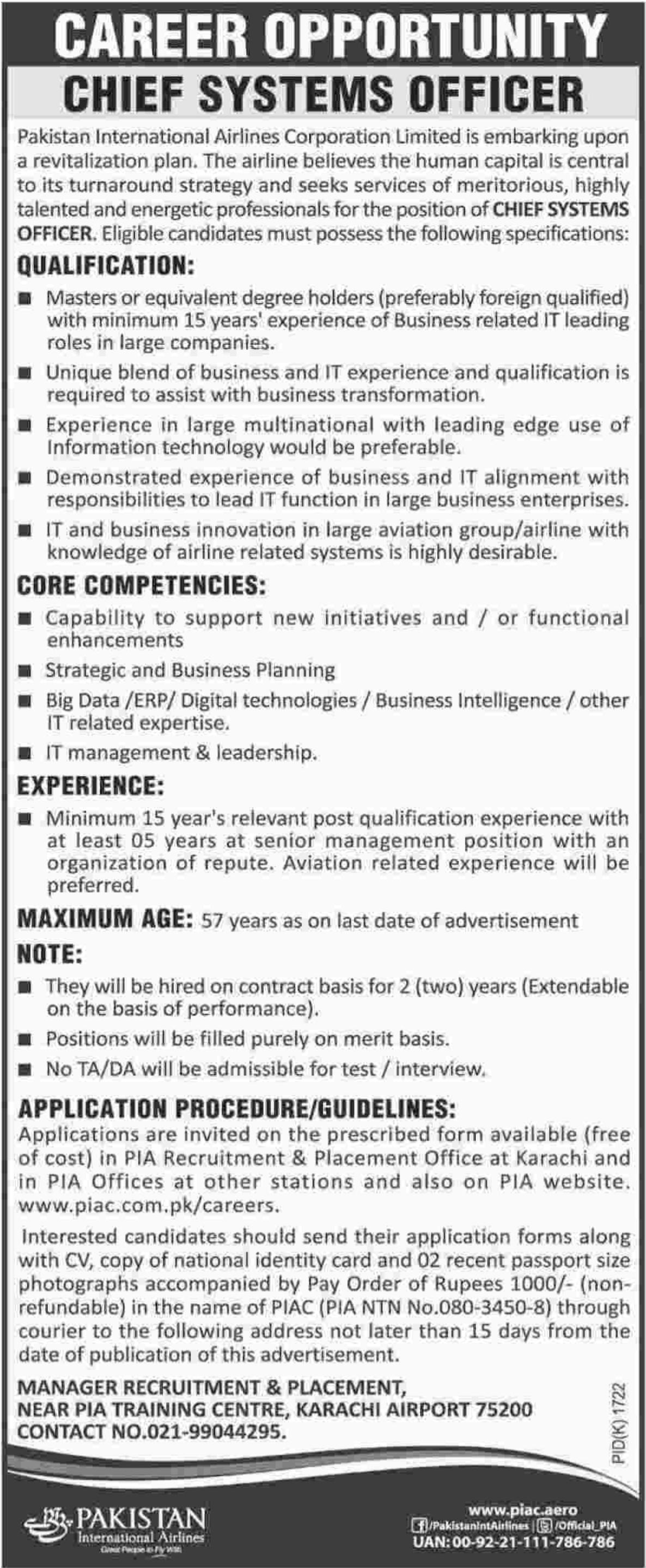 PIA Jobs 2017 Pakistan International Airlines Corporation