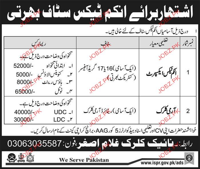 Income Tax Experts and Army Clerks Job Opportunity
