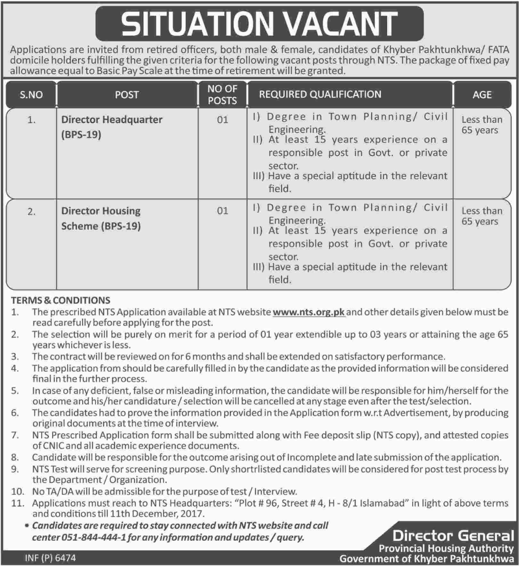 Provincial Housing Authority Govt Of KPK Jobs NTS