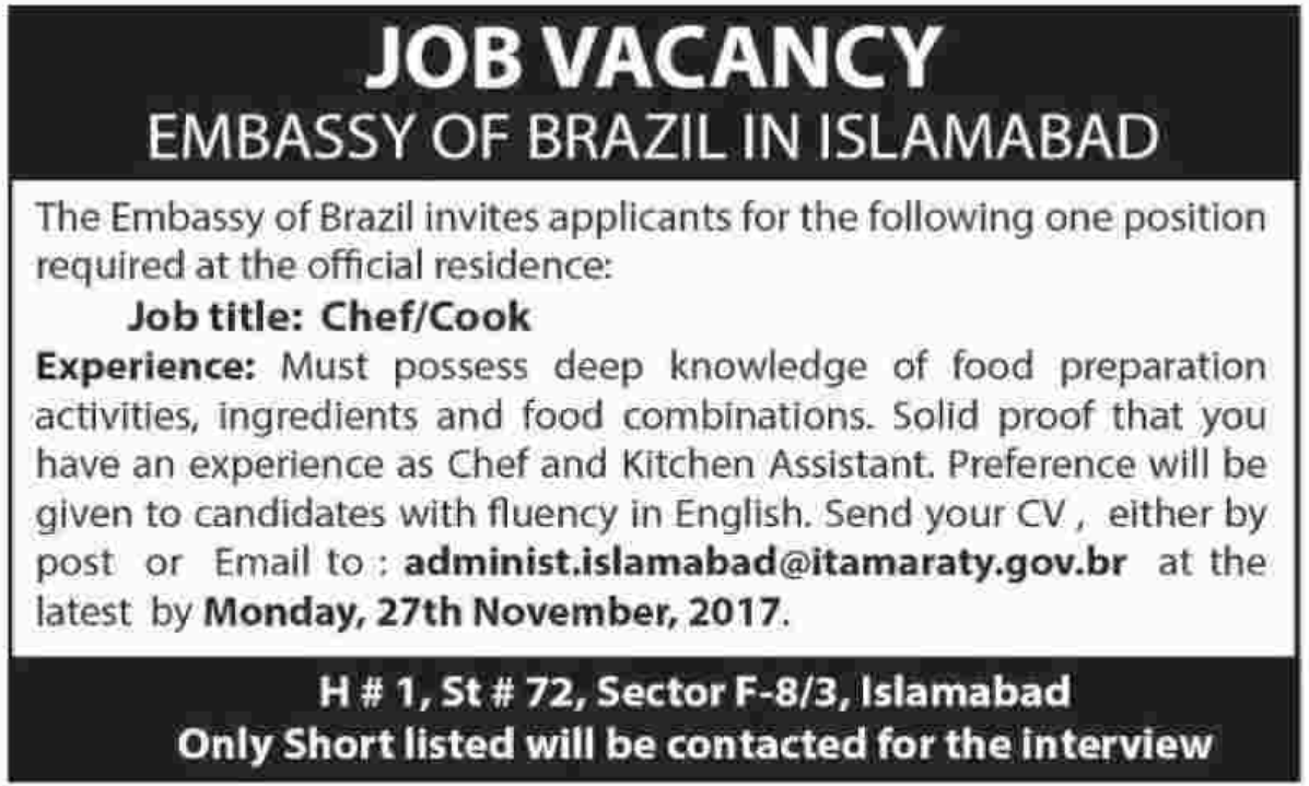 Embassy of Brazil in Islamabad Jobs 2017