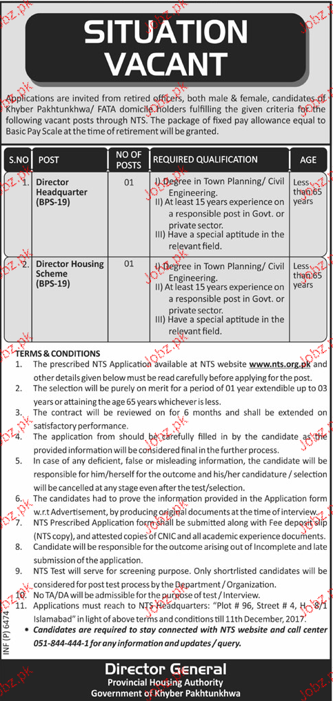 Provincial Housing Authority NTS  Jobs