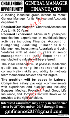 General Manager Finance / Chief Financial Officers Wanted