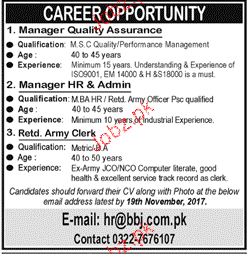 Manager Quality Assurance, Manager HR Job Opportunity