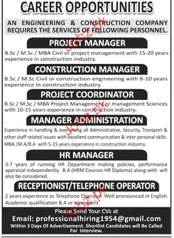 Project Manager, Construction Manager Job opportunity
