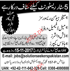 Manager Human Resource, Male / Female Waiters Wanted