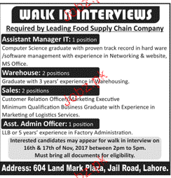 Associate Manager IT, Manager Warehouse Job Opportunity
