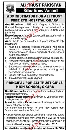 Ali Trust Pakistan Jobs