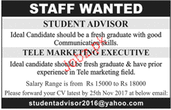 Student Advisors and Telemarketing Executives Wanted