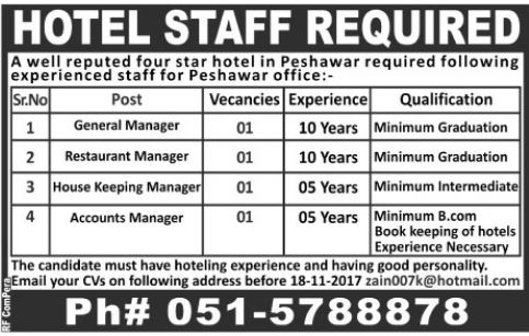 Four Star Hotel in Peshawar Staff required 2017