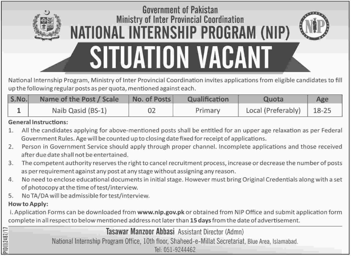 NIP National Internship Program Govt Of Pakistan Jobs
